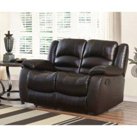 Wondrous Verona Top Grain Leather Reclining Loveseat Sams Club Short Links Chair Design For Home Short Linksinfo