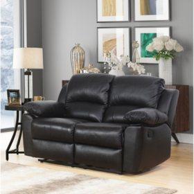Terranova Top-Grain Reclining Leather Loveseat