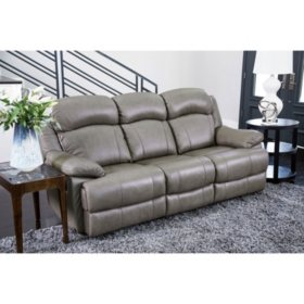 Hamptons Top-Grain Leather Reclining Sofa