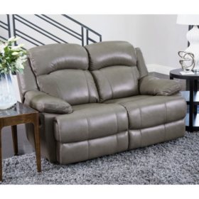 Hamptons Top-Grain Leather Reclining Loveseat