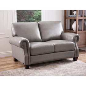 Helena Top-Grain Leather Loveseat