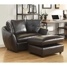 Milano Leather Chair and Storage Ottoman