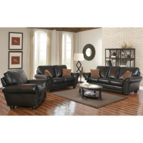 Melrose Leather Sofa, Loveseat and Pushback Recliner, 3-Piece Set