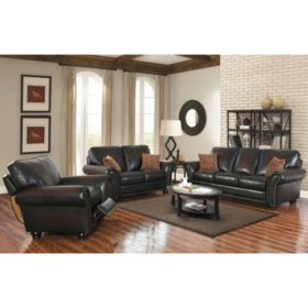 Astonishing Melrose Leather Sofa Loveseat And Pushback Recliner 3 Pabps2019 Chair Design Images Pabps2019Com