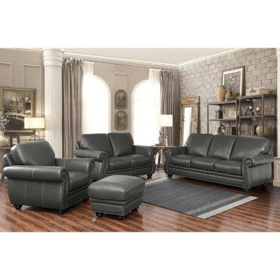 Kassidy Top Grain Leather Sofa Loveseat Armchair And Ottoman 4