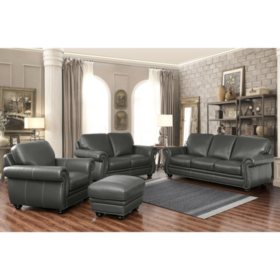 Kassidy Top-Grain Leather Sofa, Loveseat, Armchair and Ottoman, 4-Piece Set