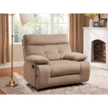 Mercer Oversized Fabric Recliner with Storage and USB/Power