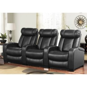 Larson Leather Power Reclining Home Theater Seating, 3-Piece Set