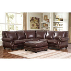 Palisades 100% Top-Grain Leather Sectional and Ottoman