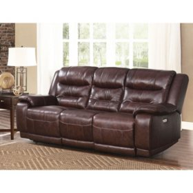 Chandler Top-Grain Leather Power Sofa with USB Port