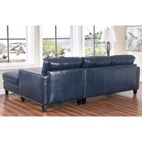 Member\'s Mark Oliver Top-Grain Leather Sectional Sofa (Assorted Colors)
