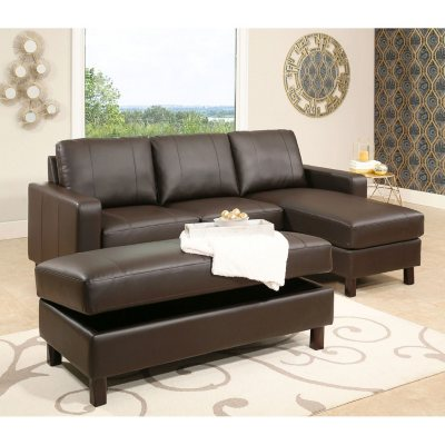 Abbyson Living Hampton Leather Reversible Sectional and Storage Ottoman