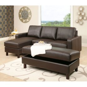 Wondrous Hampton Leather Reversible Sectional And Storage Ottoman Machost Co Dining Chair Design Ideas Machostcouk