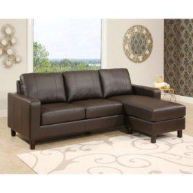 Sensational Hampton Leather Reversible Sectional And Storage Ottoman Ncnpc Chair Design For Home Ncnpcorg