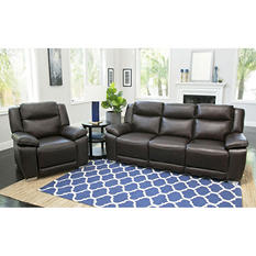 Jaylen Top-Grain Pushback Reclining Sofa and Chair, Brown