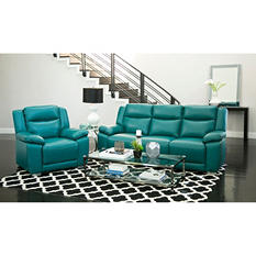 Jaylen Top-Grain Pushback Reclining Sofa and Chair, Turquoise