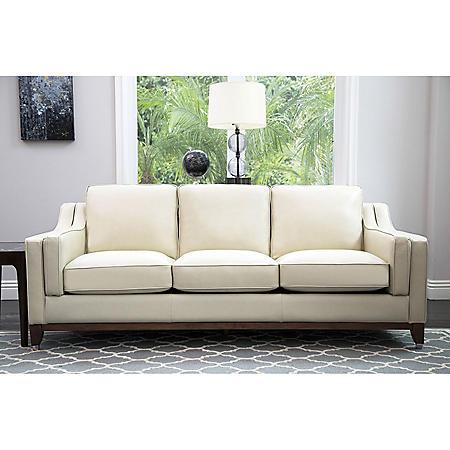Laughlin Top-Grain Leather Sofa, Cream - Sam\'s Club