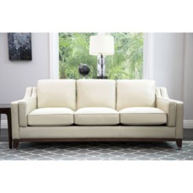 Laughlin Top-Grain Leather Sofa, Cream - Sam\'s Club