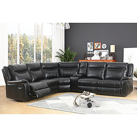 Stanford 6-Piece Sectional Sofa, Black - Sam\'s Club