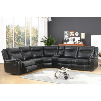 Stanford 6 Piece Sectional Sofa, Black