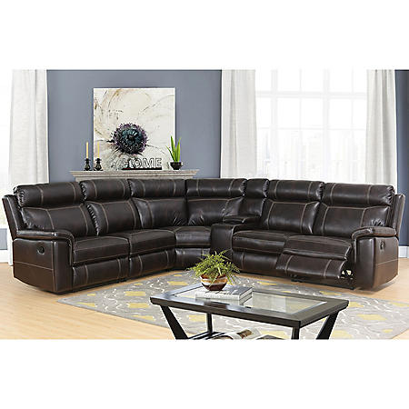 Samuel 6-Piece Sectional Sofa, Dark Brown