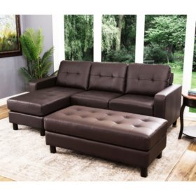 Claire Leather Reversible Sectional and Ottoman, Assorted Colors