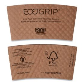 Eco-Products EcoGrip Hot Cup Sleeves, Renewable and Compostable (1300 ct.)