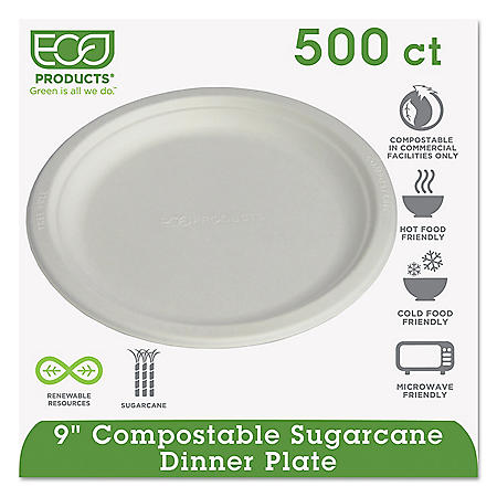 """Eco-Products Compostable Dinner Plate, 9"""" (500 ct.)"""