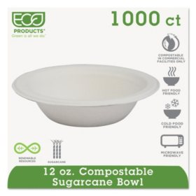 Eco-Products Compostable Bowls, 12 oz. (1,000 ct.)