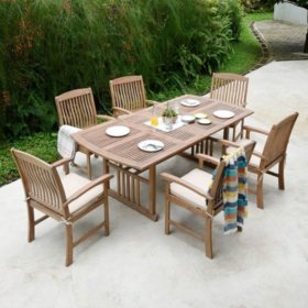 Sonoma Teak 7-Piece Dining Set with Taupe Cushions