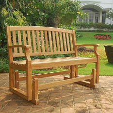 Teak Glider Bench with Cushion Option