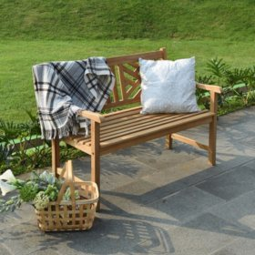 Teak Chippendale Bench