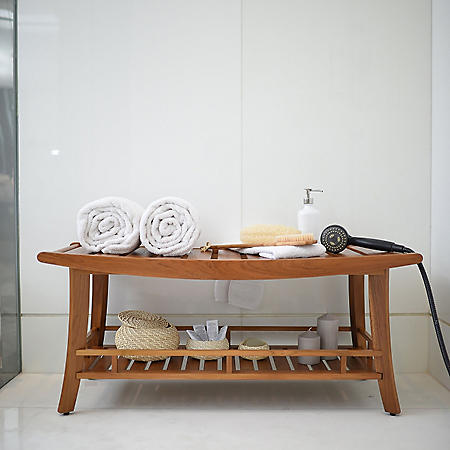 Spa Teak Large Bench with Shelf