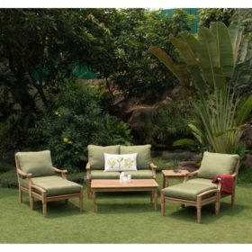 Pacific Teak 7-Piece Deep Seating Set with Green Cushions
