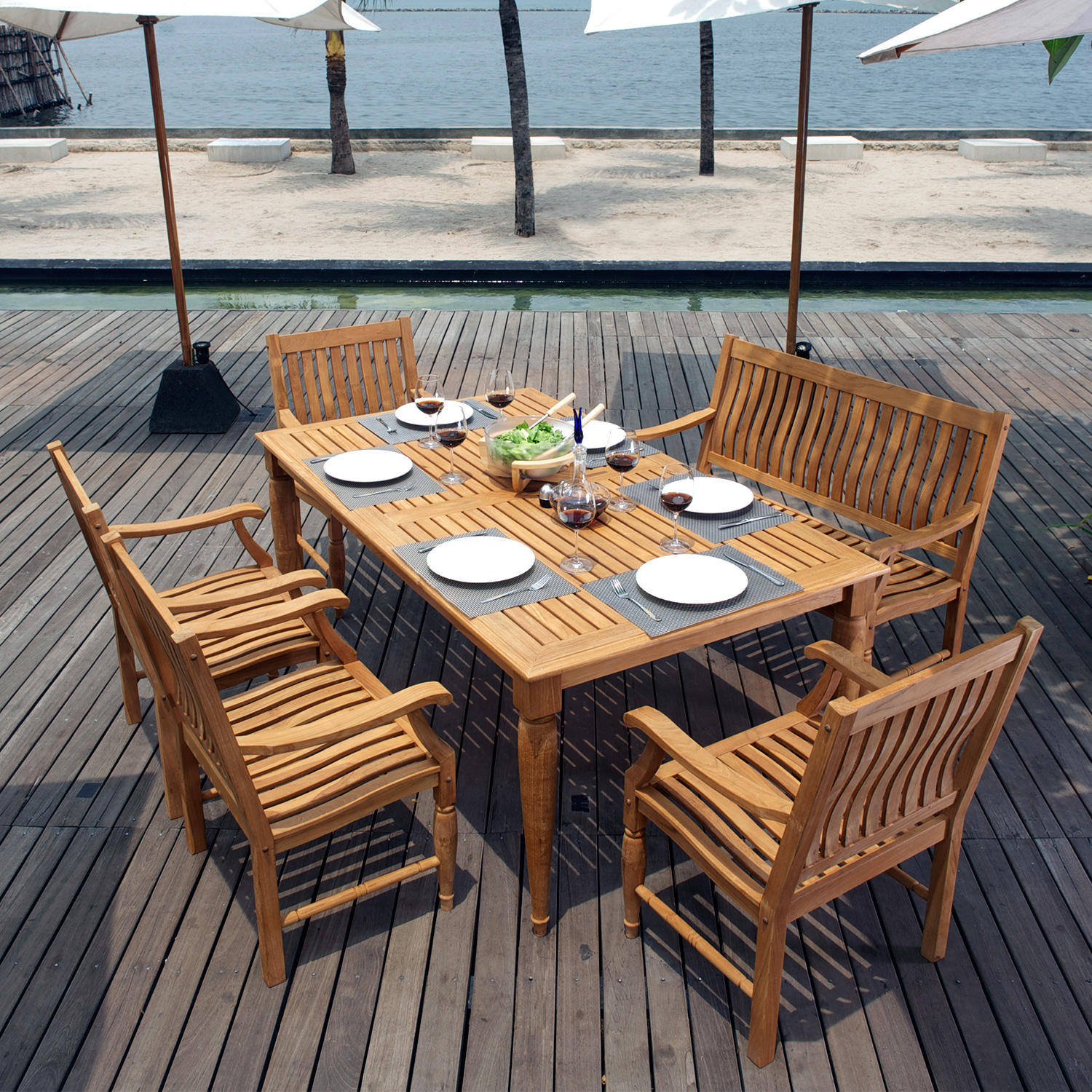 Pacific Teak 6-Piece Patio Dining Set