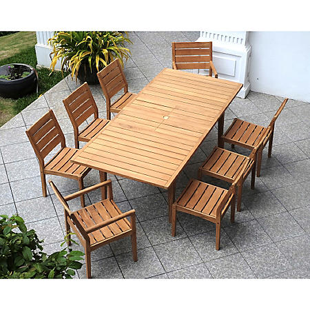 Madison Teak 9-Piece Extendable Dining Set