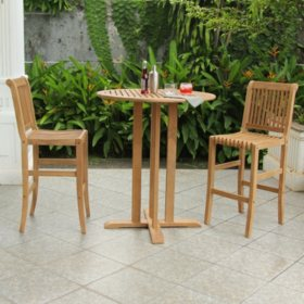 Laguna Teak 3-Piece Bar Height Bistro Set