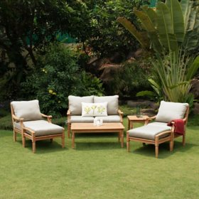 Pacific Teak 7-Piece Deep Seating Set with Beige Cushions