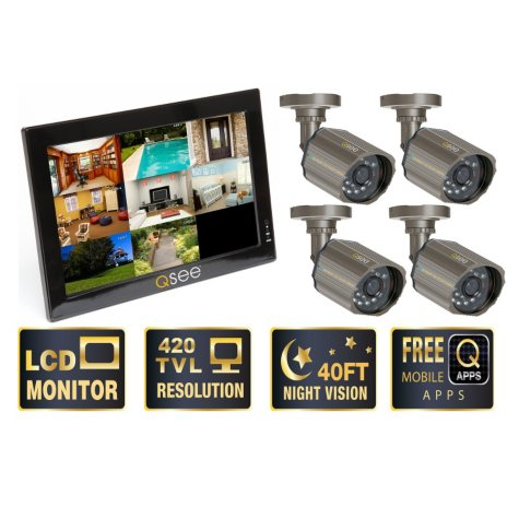 """Q-See 10"""" LCD Monitor with Built-in 8 Channel Surveillance DVR with 4 Premium CCD Cameras & 500GB HDD"""