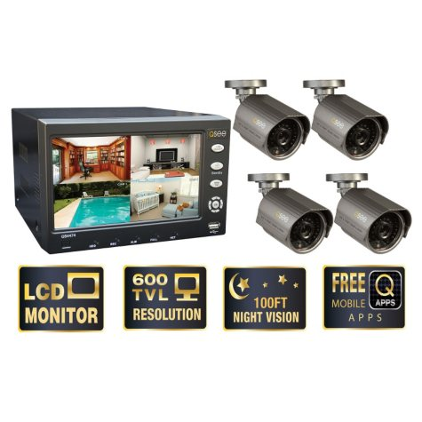 """Q-See 7"""" LCD Monitor with Built-in 4 Channel Surveillance DVR with 4 Premium High-Resolution 600TVL Cameras & 500GB HDD"""