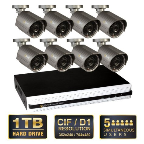 Q-See 16 Channel Security System with 1TB Hard Drive and 8 600TVL Cameras