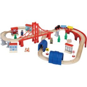 60 Piece Wooden Train Set