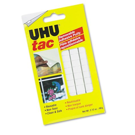 Uhu Tac Adhesive Putty, Removable/Reusable, Nontoxic, 2.12 oz, 80 pieces per Pack