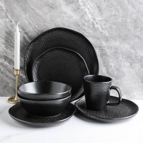 Stone Lain Organic Shape Weave Embossed 32-Piece Dinnerware Set, Service for 8 (Black)