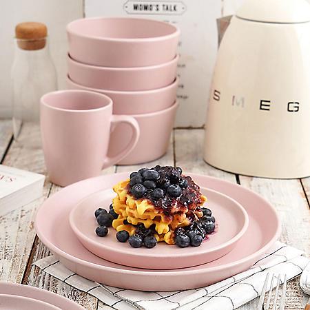 Stone Lain Albie Stoneware 32-Piece Dinnerware Set, Easter Pink