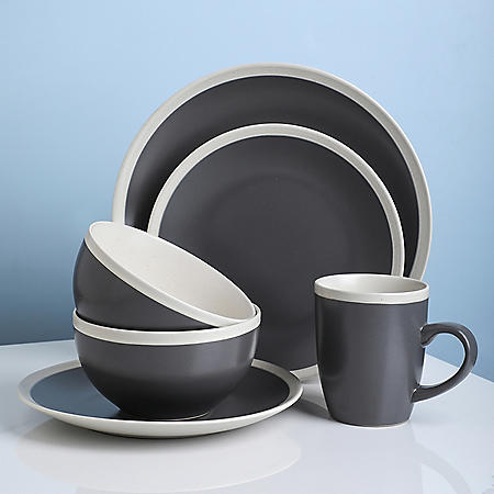 Stone Lain Two-Tone 32-Piece Stoneware Dinnerware Set, Service for 8 (Gray and Cream)