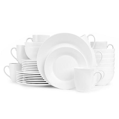 Stone Lain Evermore Porcelain 32-Piece Dinnerware Set, Service for 8 (White)