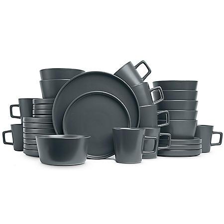 Stone Lain Modern Ledge 32-Piece Stoneware Dinnerware Set, Service for 8 (Gray Matte)