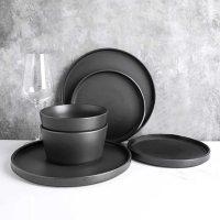 Stone Lain 24-Piece Modern Ledge Stoneware Dinnerware Set (Assorted Colors)