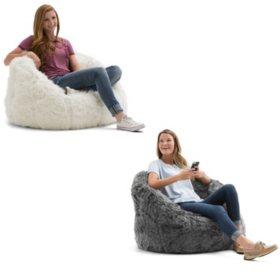 Awesome Big Joe Shag Fur Milano Bean Bag Chair Assorted Colors Inzonedesignstudio Interior Chair Design Inzonedesignstudiocom